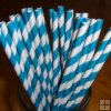 25pcs Dark Cyan Stripe Paper Straws