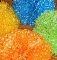 "16"" White dot Colors Pom poms"