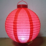 "16"" Red 12LED Round Paper Battery Lantern"