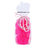 Fuchsia Pillar Rose Candle