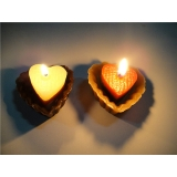 Chocolate with Light Chocolate Pair Heart shape Candles