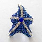 Czech Diamond Starfish Rings-Blue