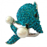 Czech Diamond Dolphin Rings-Turquoise