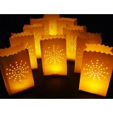 White Sunburst Paper Bag Luminaries (5 of pack)