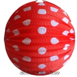 "12"" White Dot With Red Accordion Paper Lanterns"