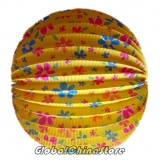 "12"" Floral With Yellow Accordion Paper Lanterns"