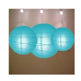Cross 3 pack turquoise paper lanterns cluster