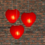 Heart Paper Lanterns-Red 3 pack cluster