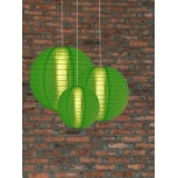 3 Pack Grass Green Nylom Lanterns Cluster