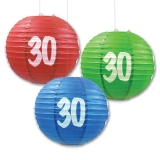 "10"" 30th Paper lantern for party-3 pack"