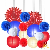Assorted paper lanterns pompoms and fans-16pk