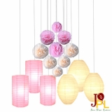15pcs Paper shape with tissue pom poms Assorted