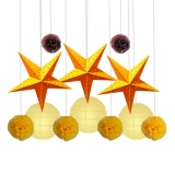 12pcs paper star with paper pom poms Assorted