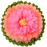 Paper Tissue Flower -peach hot pink yellow
