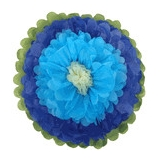 Paper Tissue Flower -Royal blue-baby blue-ivory