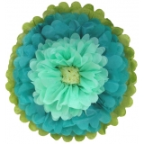 Paper Tissue Flower -teal tiffany ivory